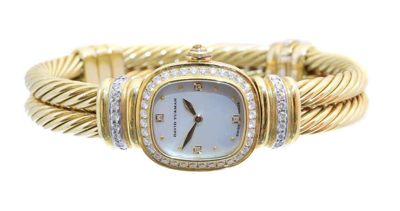 A David Yurman 18ct gold diamond bangle watch, - Image 2 of 2