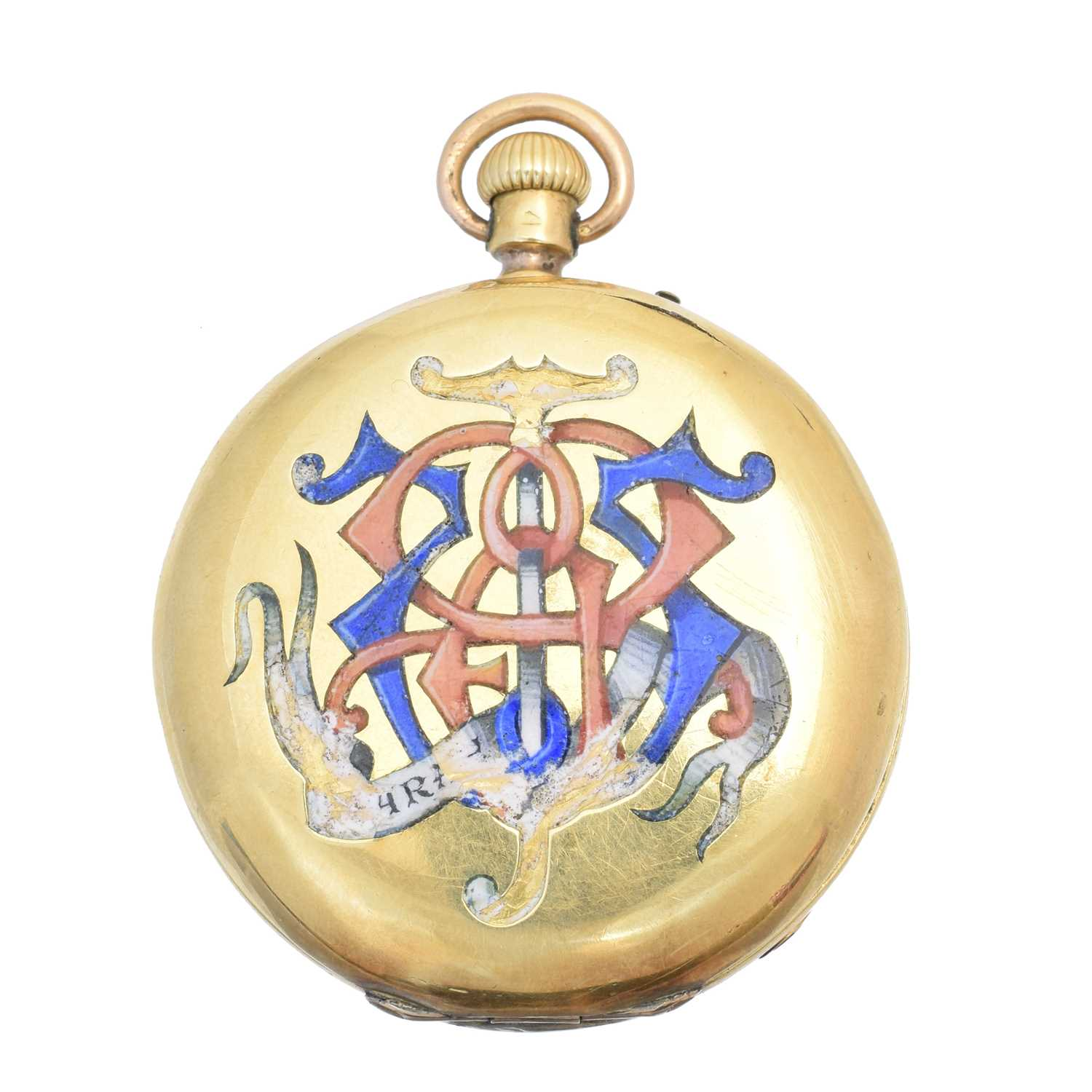 A late 19th century 18ct gold enamel hunter pocket watch, - Image 2 of 5