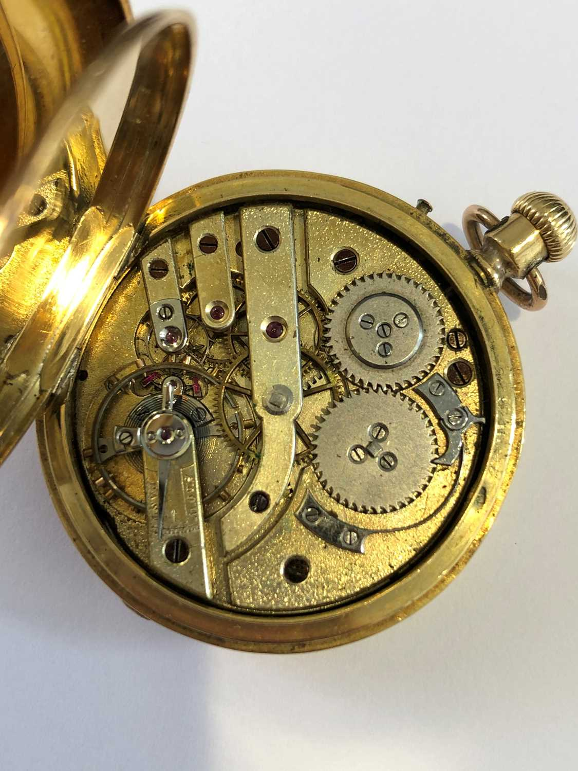 A late 19th century 18ct gold enamel hunter pocket watch, - Image 4 of 5