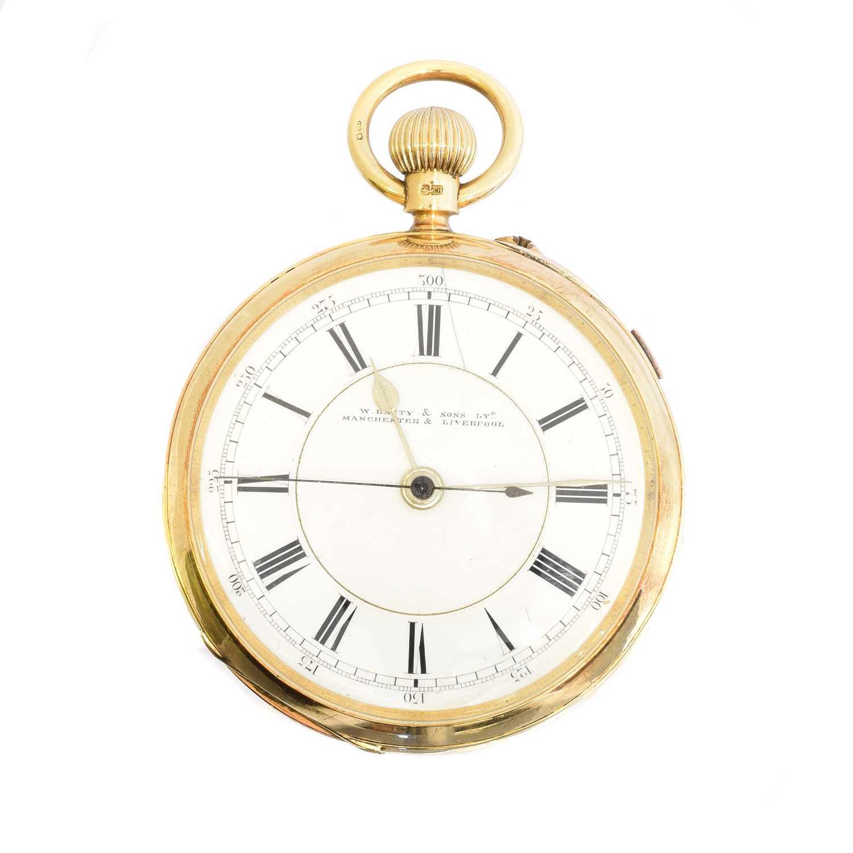 An 18ct gold open face pocket watch by W. Batty & Sons Ltd.,