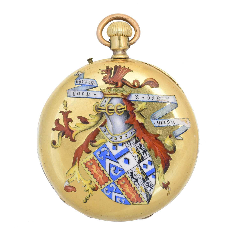 A late 19th century 18ct gold enamel hunter pocket watch,