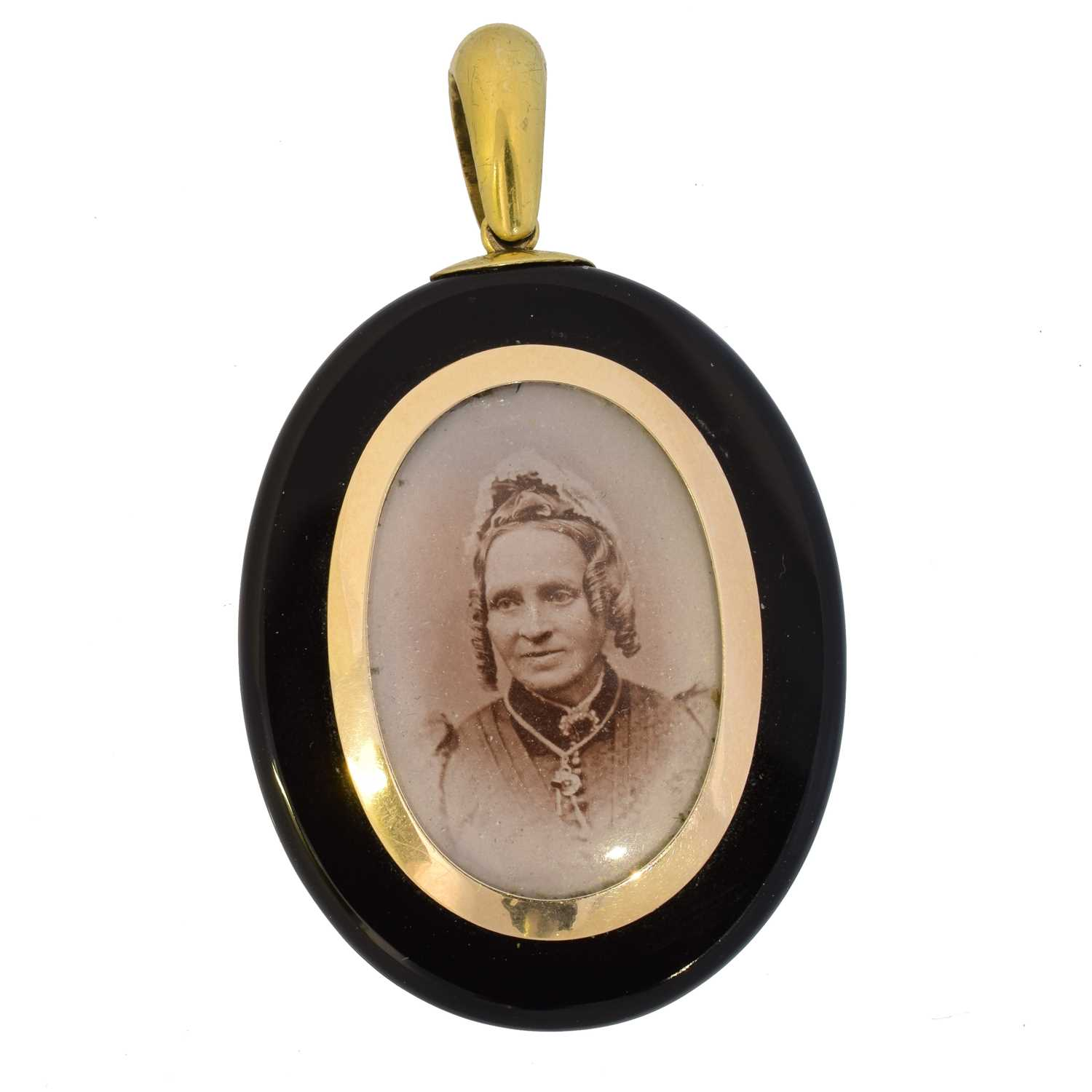 A Victorian onyx and diamond mourning locket, - Image 2 of 2