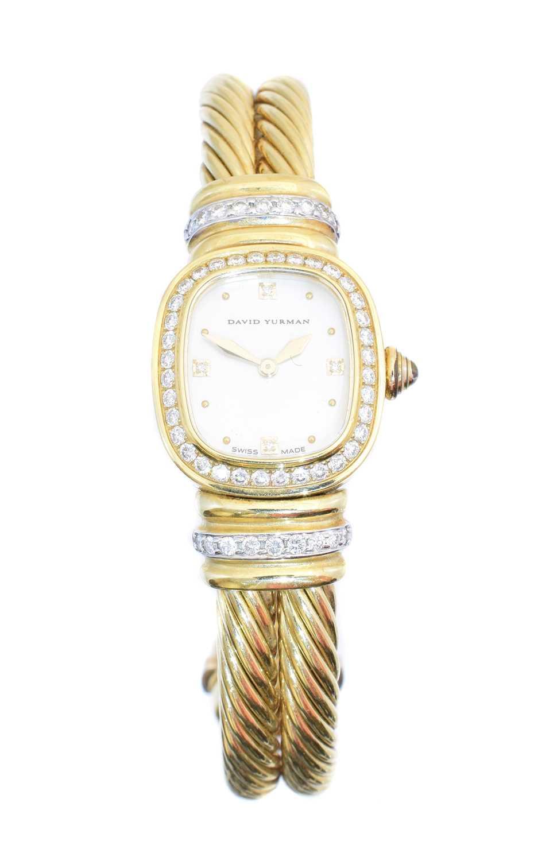 A David Yurman 18ct gold diamond bangle watch,