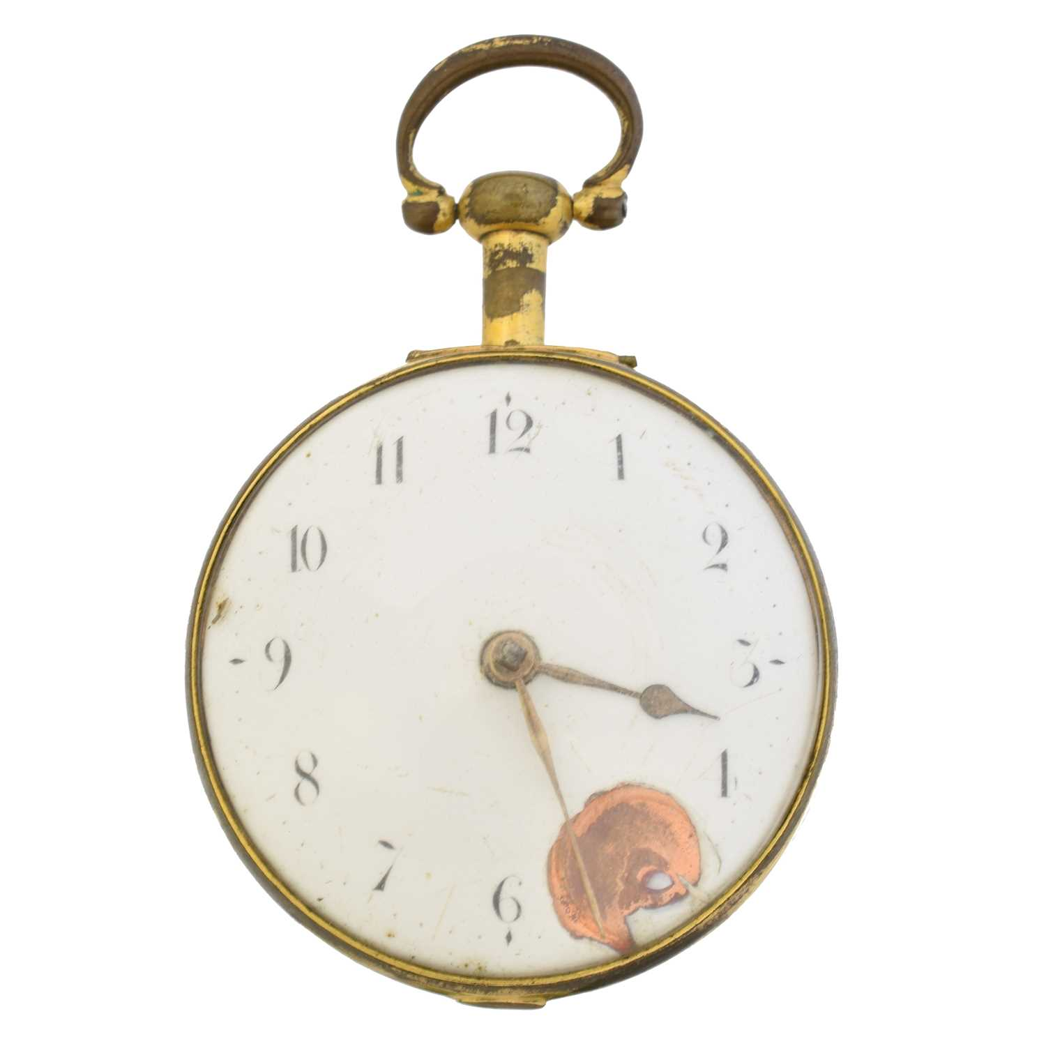 A Georgian gold plated pair cased pocket watch, - Image 2 of 4
