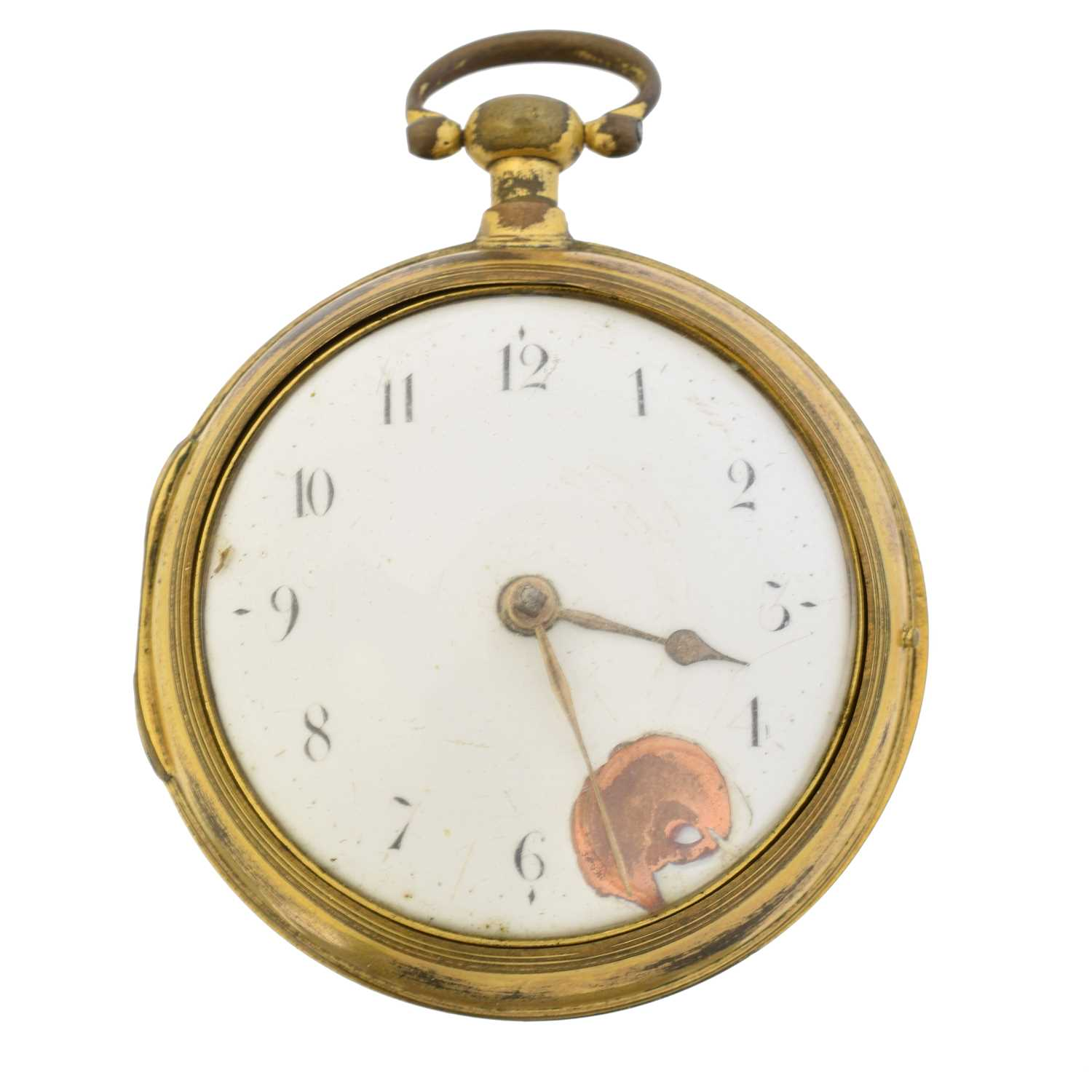 A Georgian gold plated pair cased pocket watch,