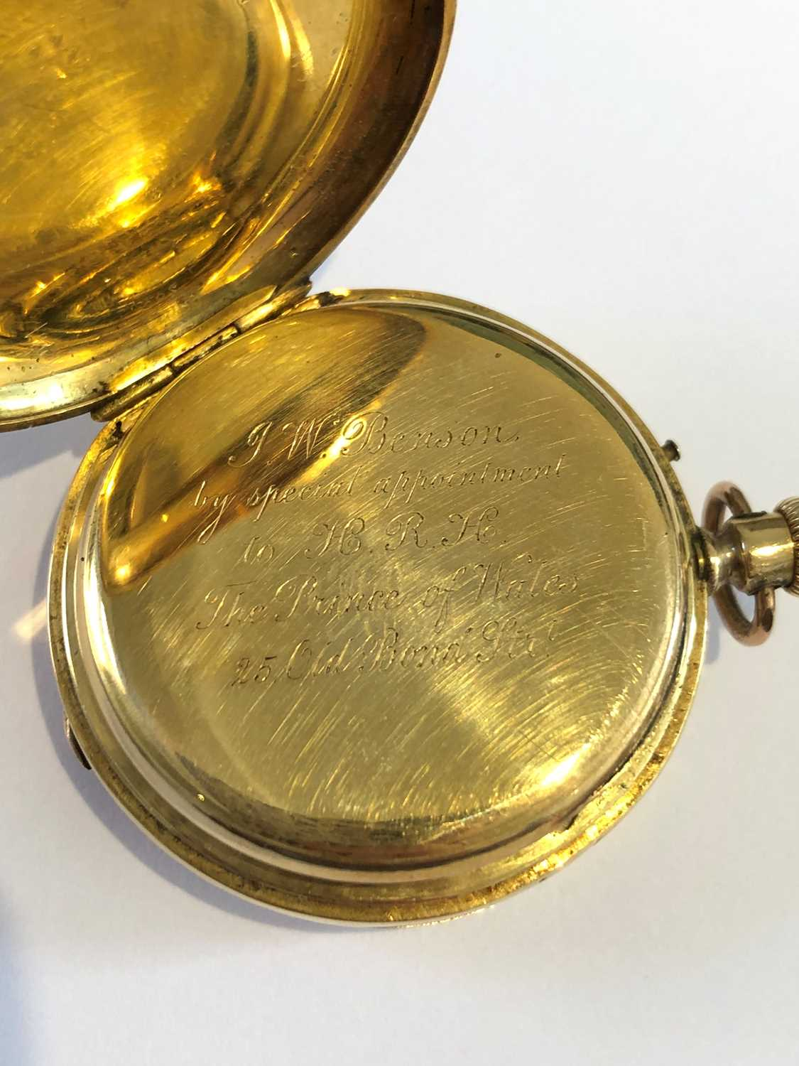 A late 19th century 18ct gold enamel hunter pocket watch, - Image 5 of 5