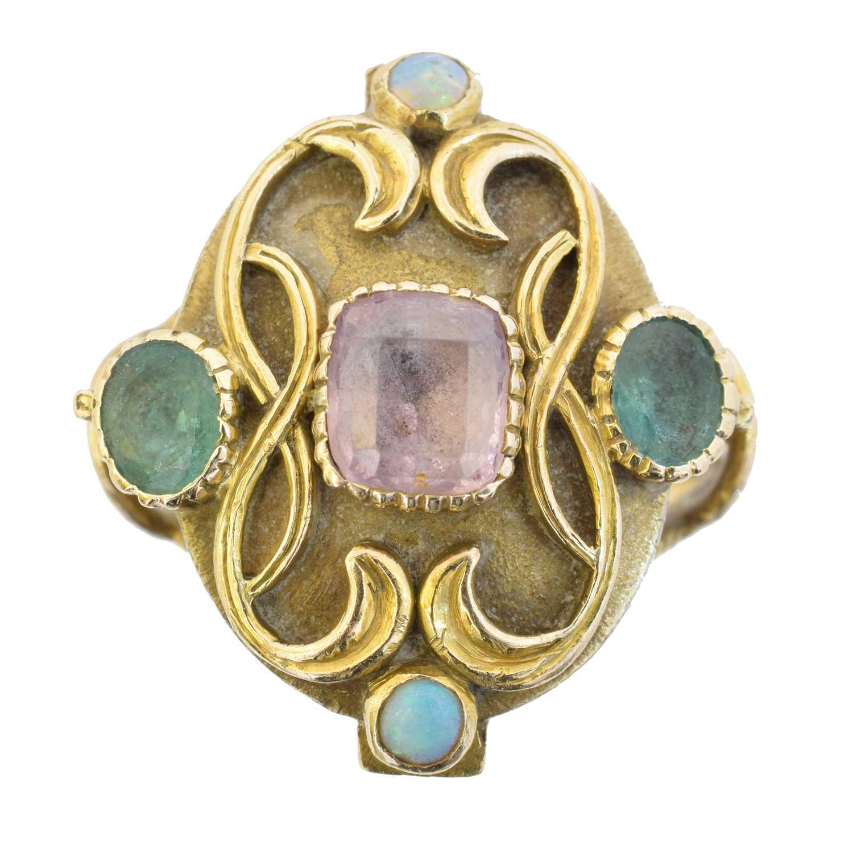 A gem-set dress ring,