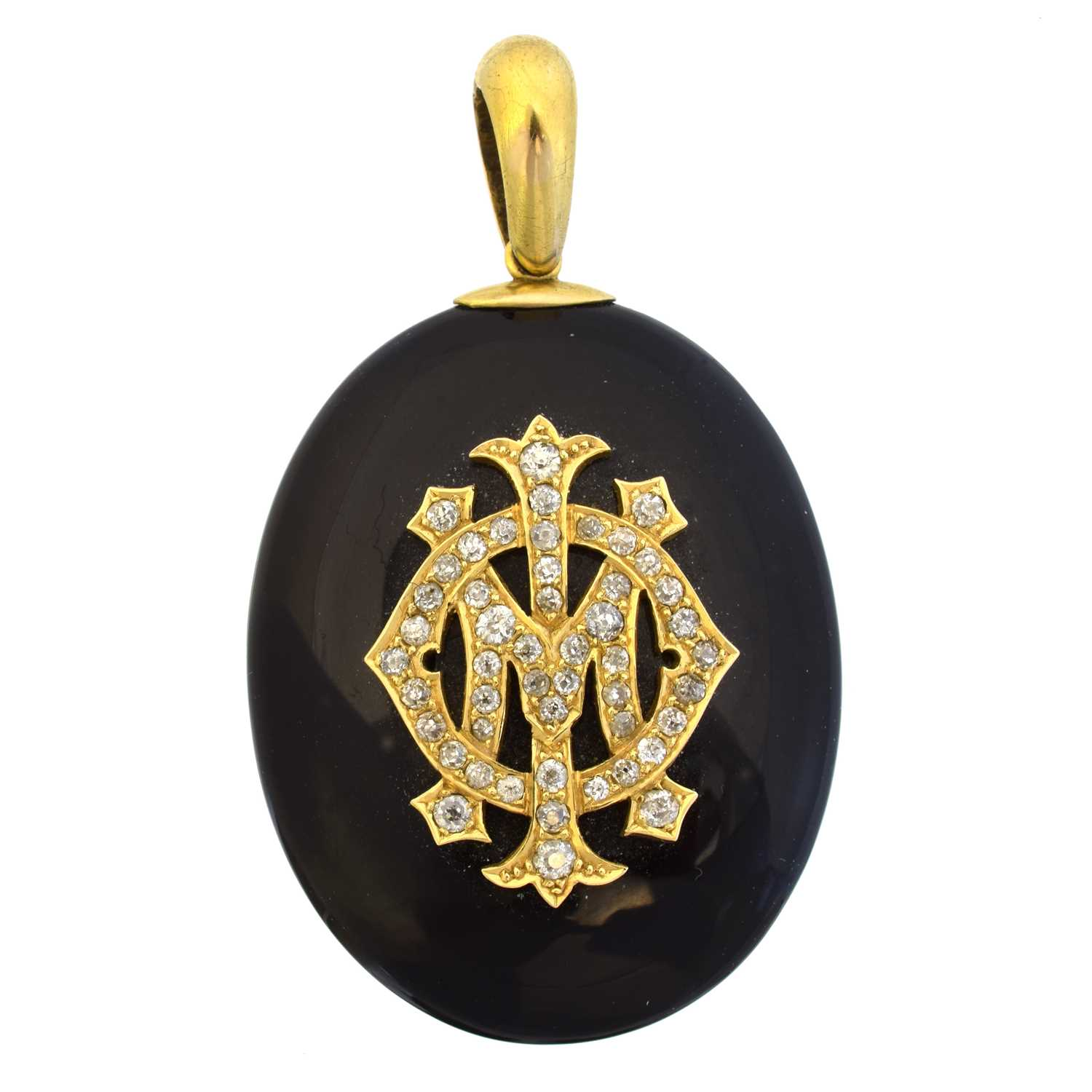 A Victorian onyx and diamond mourning locket,