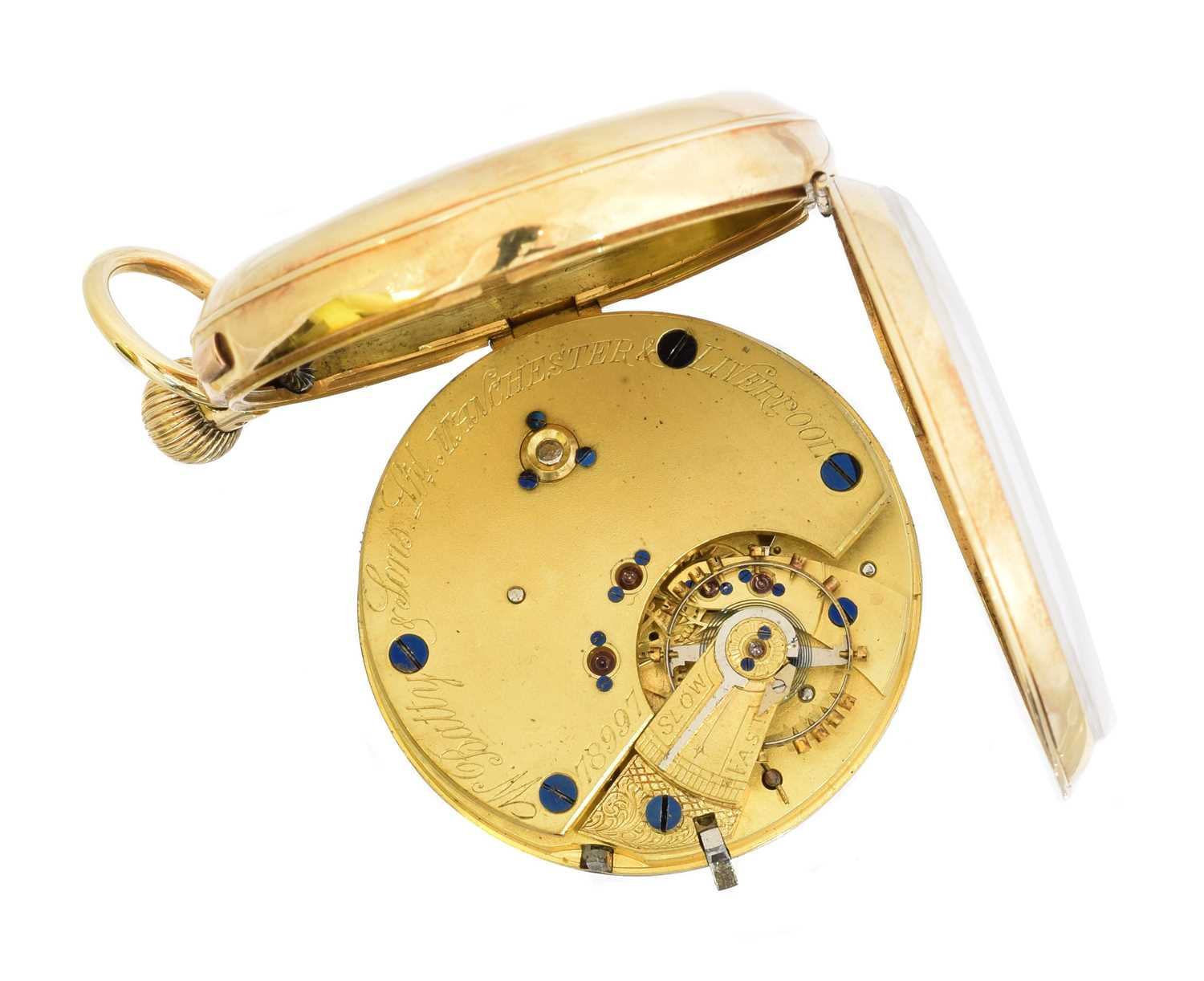 An 18ct gold open face pocket watch by W. Batty & Sons Ltd., - Image 3 of 3