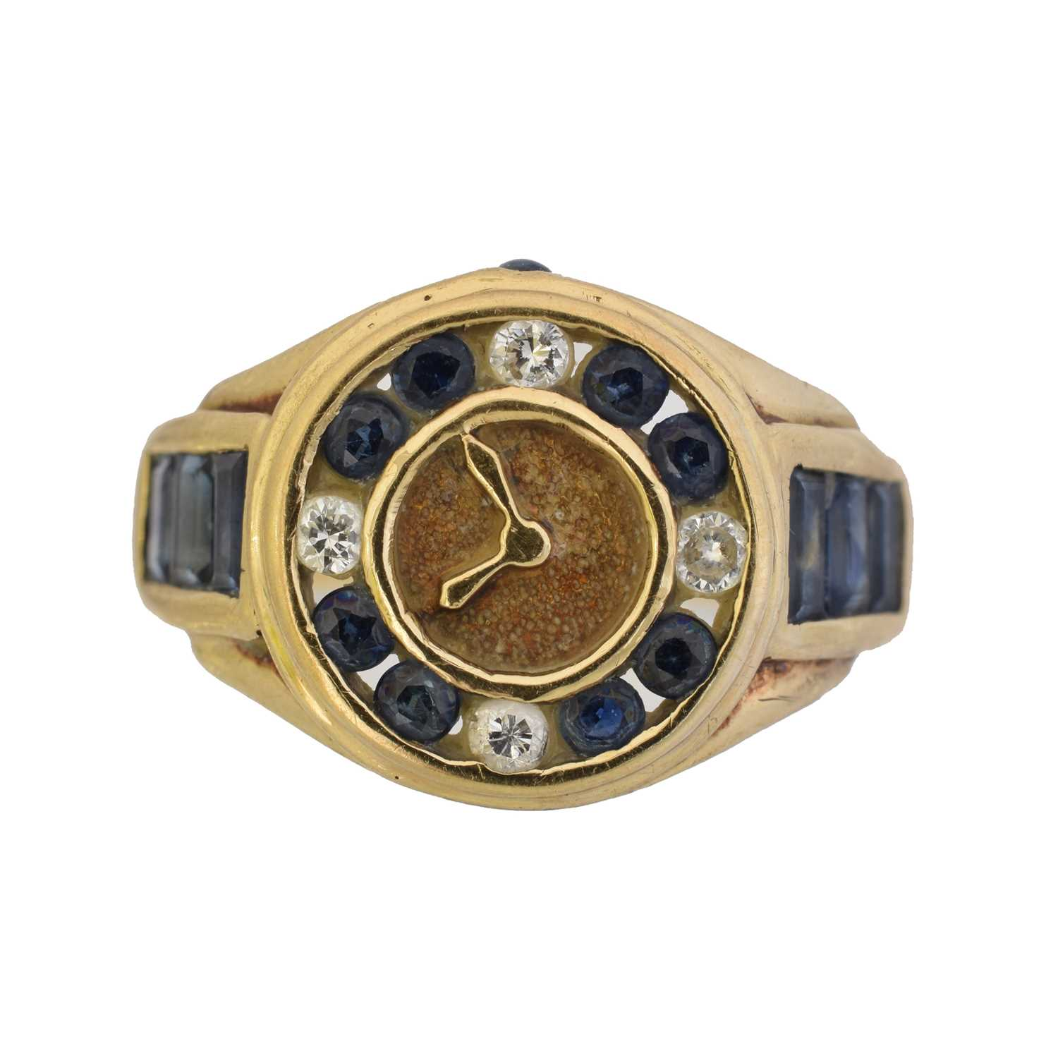 A 9ct gold sapphire and diamond dress ring,
