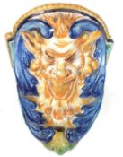 Cantagalli wall bracket in the form of a devil mask, 19th century.