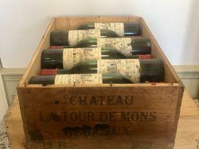 12 Bottles Chateau La Tour de Mons Cru Bourgeois Margaux 1972