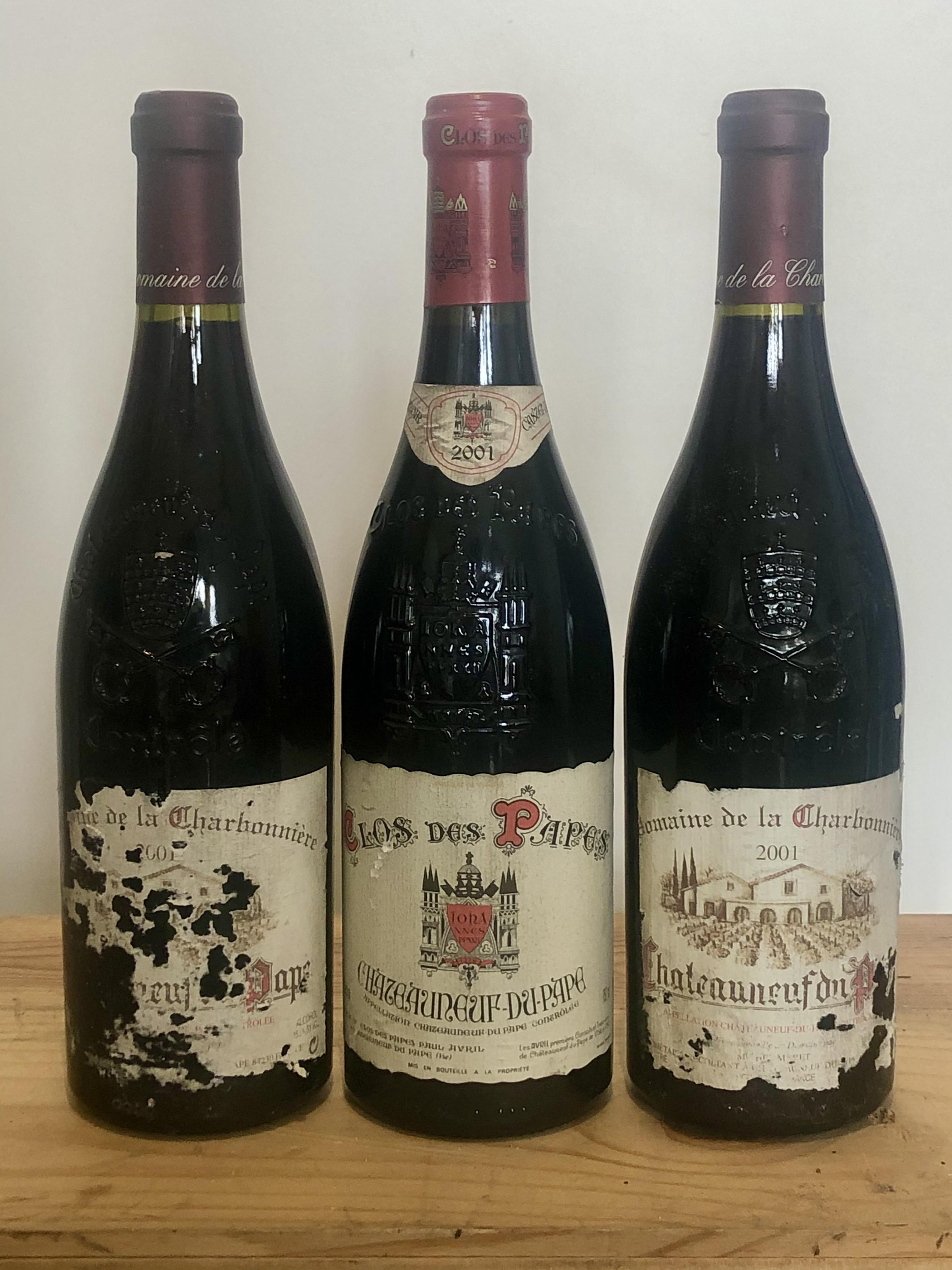 3 Bottles mixed Lot Fine 2001 Chateauneuf du Pape