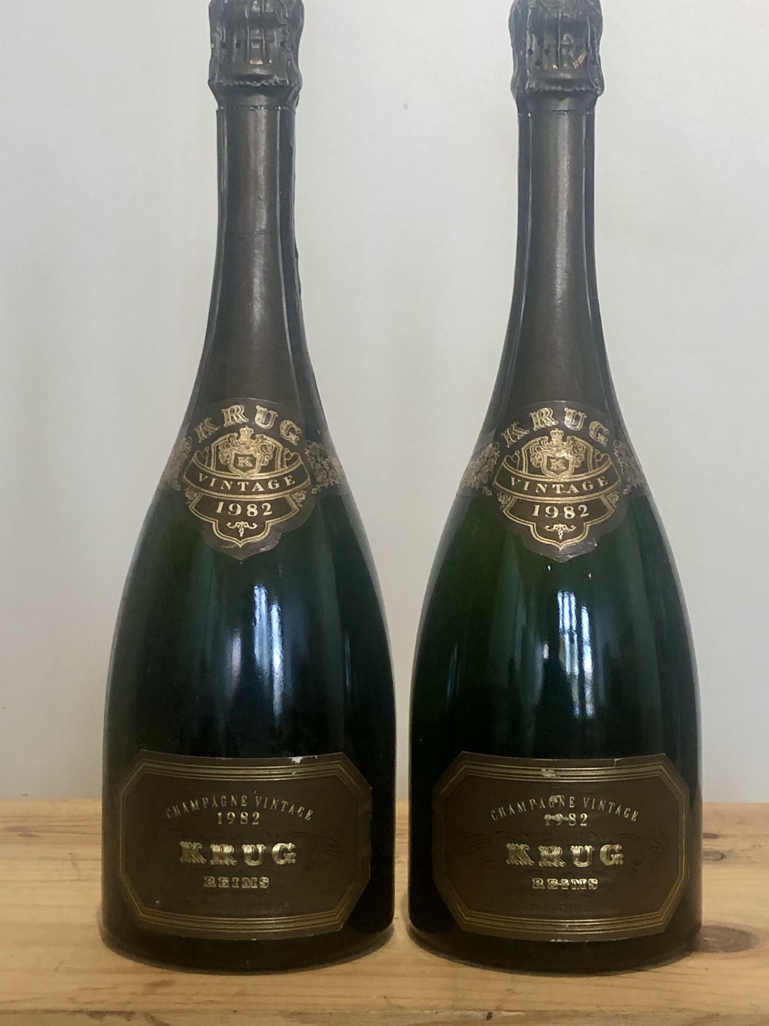 2 bottles Champagne Krug Vintage 1982