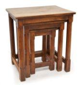 Mouseman Oak Nest of Three Tables