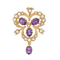 A 9ct gold amethyst and split pearl brooch,