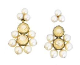 A pair of topaz and pearl earrings,