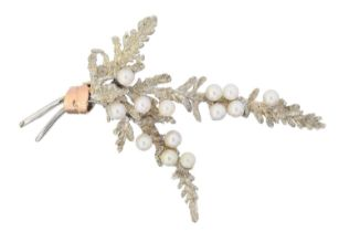 A 9ct gold cultured pearl heather spray brooch by Alabaster & Wilson,