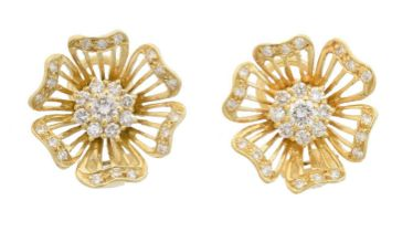 A pair of 18ct gold diamond earrings by Cropp & Farr,