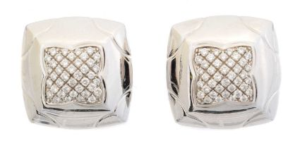 A pair of 18ct gold diamond 'pyramid' earclips by Bulgari,