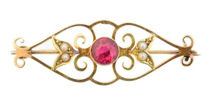 An early 20th century synthetic ruby brooch,