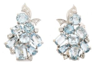 A pair of aquamarine and diamond earrings,