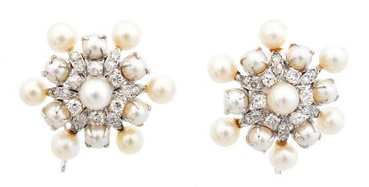 A pair of cultured pearl and diamond earrings,