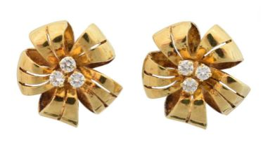 A pair of 18ct gold diamond floral earrings by Cropp & Farr,