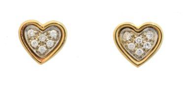 A pair of 18ct gold diamond heart stud earrings,