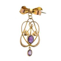 An early 20th century 9ct gold amethyst pendant by Murrle Bennett & Co.,