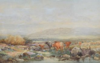 Thomas Rowden (British 1842-1926) Cattle in a moorland landscape, watercolour.