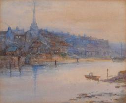 C.E.G. (19th century) River scene with boats, watercolour.