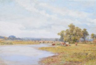 E.A. Walsley (19th century) River scene with cattle, watercolour.