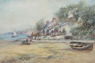 Joseph Hughes Clayton (exh. 1891-1929) Beach scene with figures and cottage, watercolour.
