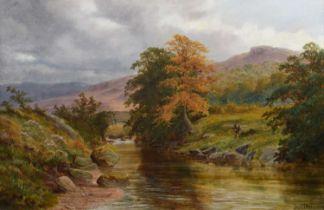"Henry W. Henley (British fl. 1891-1895) ""On the Machna, North Wales"", oil."