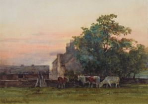 George Hamilton Constantine (British 1878-1967) Evening scene with a farmhouse and cattle