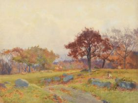 George Cockram R.I. (British 1861-1950) Rural autumnal view with figure and sheep, watercolour.