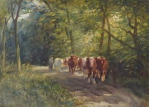 Mark William Fisher (1841-1923) Cattle on a country lane, watercolour.
