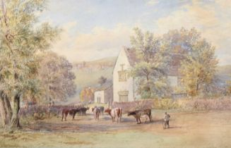 Ebenezer Alfred Warmington (1830-1903) Cattle before a country house, watercolour.