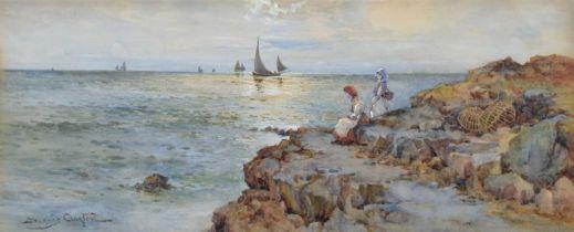 Joseph Hughes Clayton (exh. 1891-1929) Coastal scene with figures and sailing boats, watercolour.