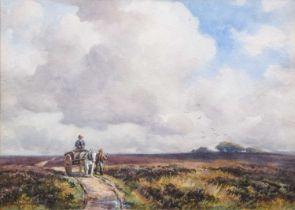 George Hamilton Constantine (1878-1967) Figures in a moorland landscape, watercolour.