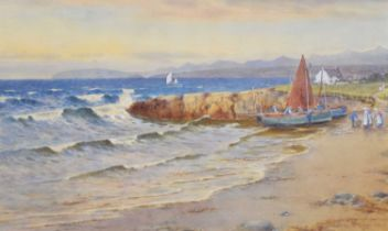 """Warren Williams (British 1863-1941) """"Landing the Catch, Moelfre Bay, Anglesey"""", watercolour."""