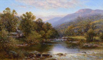 "Alfred Augustus Glendening (British 1840-1921) ""Bridge at Betws-y-Coed"", oil."
