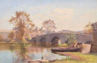 James Aitken (fl. 1880-1935) River scene with bridge and figures, watercolour.