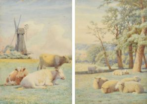 """William Sidney Cooper (British 1854-1927) """"Cattle and Sheep at Herne, Kent"""", watercolour (2)."""