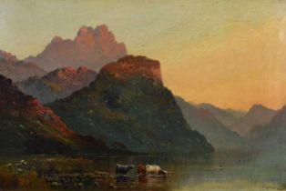 """Alfred Fontville De Breanski Jnr. (British 1877-1957) """"Loch Katrine"""", oil."""