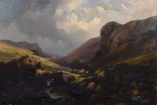 British School (19th century) Mountainous river scene with figures, oil.