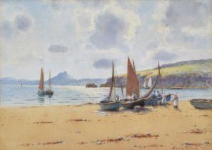 Warren Williams (British 1863-1941) Coastal scene with Criccieth Castle, watercolour.