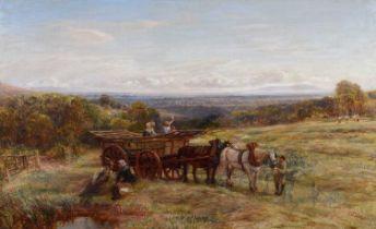 Charles Thomas Burt (British 1823-1902) Rural landscape with harvesters, oil.