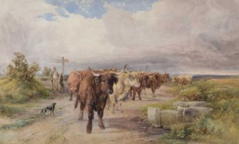 W.H. Pigott (British 1810-1901) Highland cattle on a country lane, watercolour.